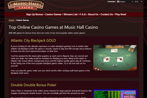 Music Hall Casino screen shot