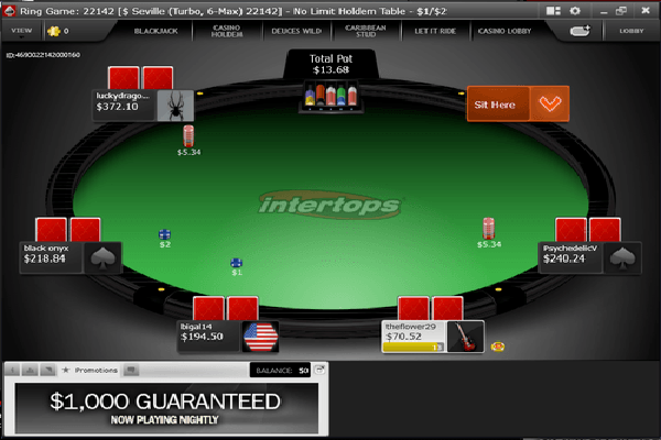 Intertops Poker screen shot