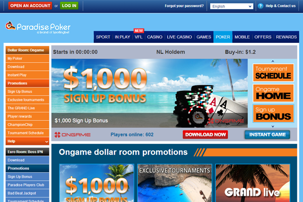 Paradise Poker screen shot