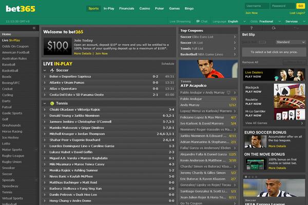 Bet 365 screen shot