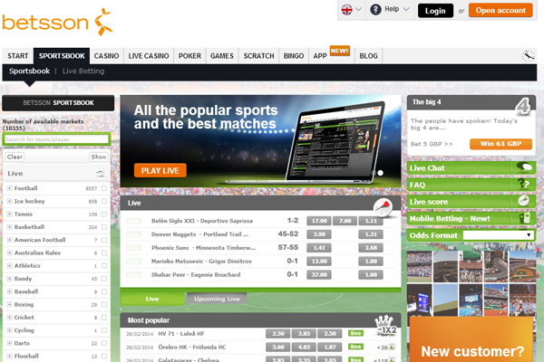 Betsson screen shot